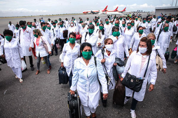 A delegation of Cuban doctors arrives in Angola on April 10 to help the African country fight the Covid-19 pandemic.