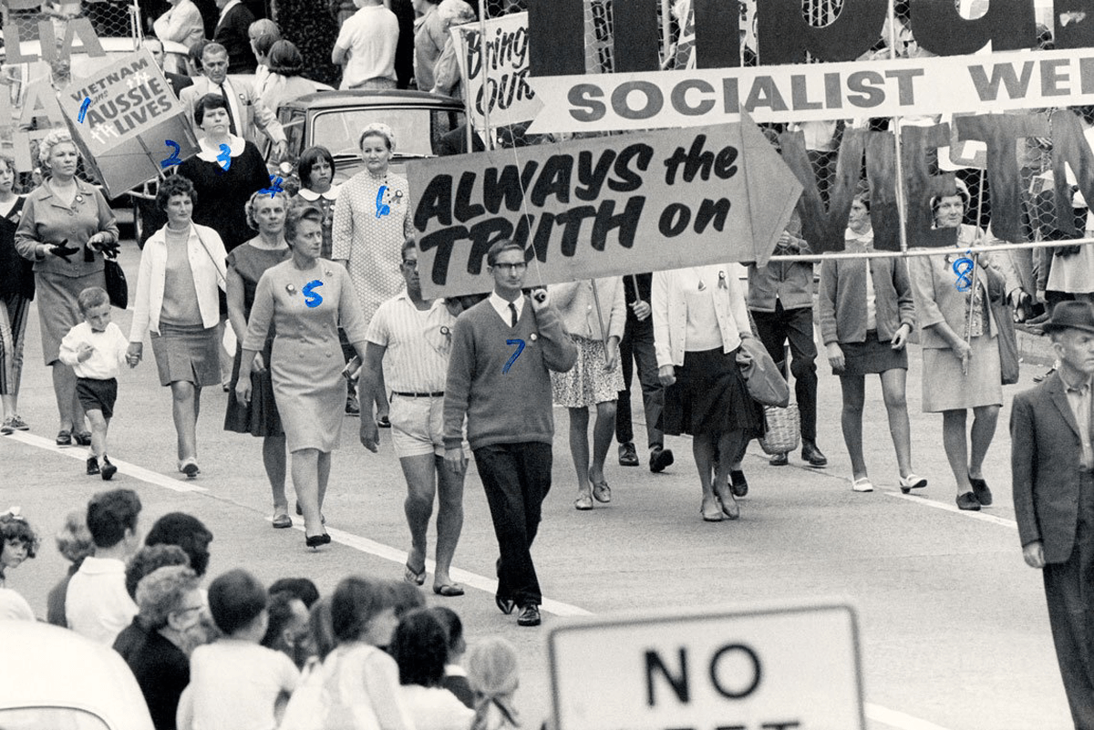 ASIO surveillance photograph of the 1968 May Day March in Wollongong.