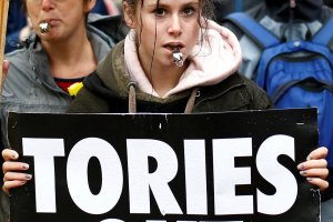 Tens of thousands rally against the Tories as party conference kicks off in Manchester